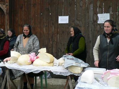 Local cheese on sale at a market near Botiza