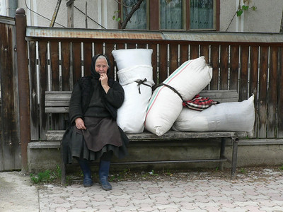 Local woman taking a rest in Maramures