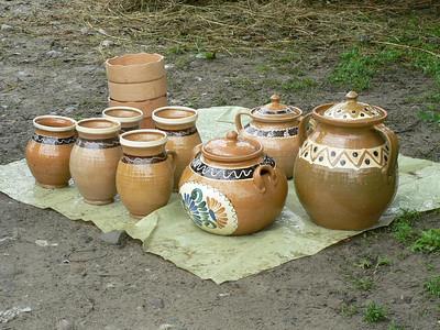 Pottery on sale at a market near Botiza