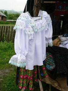 Clothing on sale at a market near Botiza