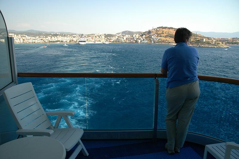 "Balcony view - ""Bye, Kusadasi.  We hope to return soon."""