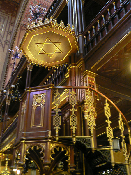Christian-style pulpit with Jewish symbol inside the Dohany Synagogue