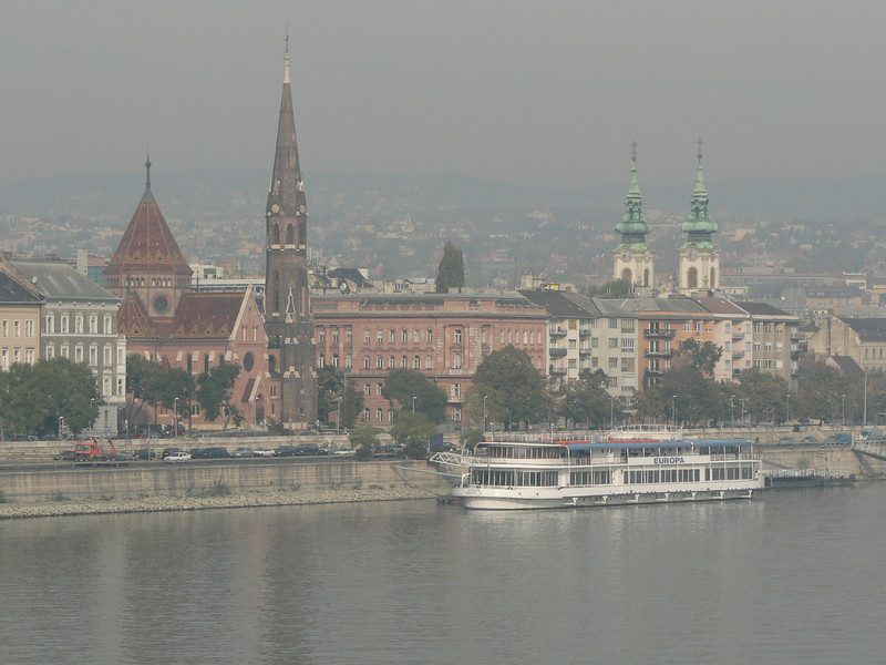 Morning haze obscures the view of Pest from Buda
