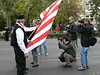 Showing the flag to the press