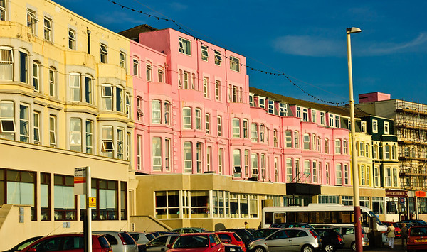 Pink and yellow hotel Blackpool England