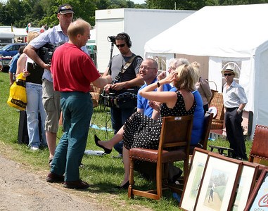 Filming the BBC series Bargain Hunt at the Oswestry antique fair.