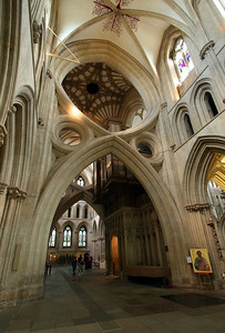 """Wells Cathedral.  Okay I shot too many photos of the arches.  The Cathedral was dedicated in 1239.  Around 1338, they noticed the central tower had shifted, so the """"scissor arches"""" were added."""