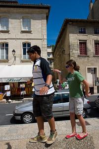 Anisa and Zeryab enjoying the sun in Avignon.