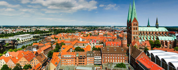 Panoramic view of Lübeck and Marienkirche Lübeck