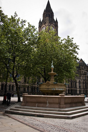 Queen Victoria Jubilee Fountain Albert Place Manchester Town Hall UK