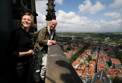 109 meters up the tower of the Nieuwe Kerk.