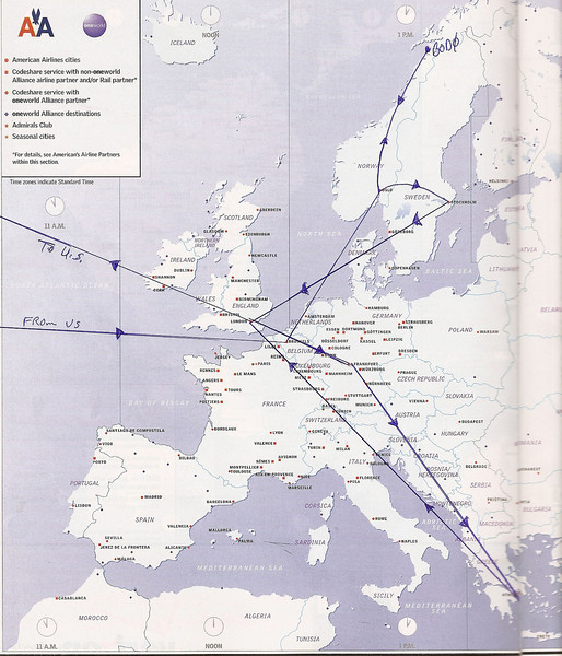This map represents my whirlwind business travel in Europe in the fall of 2008.  During this brief 2-week period I was in Belgium, Norway, Sweden, England, Germany and Greece.