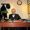 Wax figure of Sir Winston Churchill at his wartime desk conducting his Prime Minister duties.  This figure is in the Britain At War Museum in London.