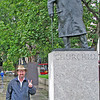 """Parliament Square in London, England.  Sir Winston Churchill is one of my favorite persons in world history, so I had to get my picture taken next to his statue imitating his """"V For Victory"""" hand signal he made famous during World War 2."""