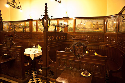 12/22 - First Night Out - Apostolok Restaurant - tables look like confessionals