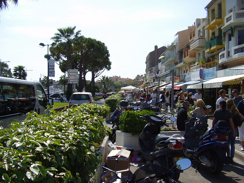The beachfront shops in Bandol.