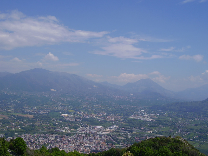 A view of Cassino from the top of the mountain.