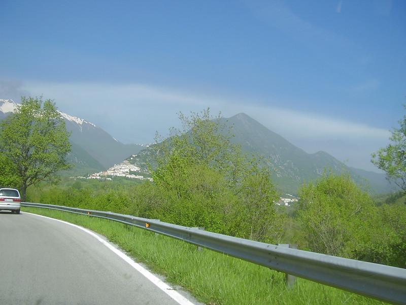 The drive toward the Meta mountains and Valle Fiorita. Pizzone is the village on the side of the mountain.
