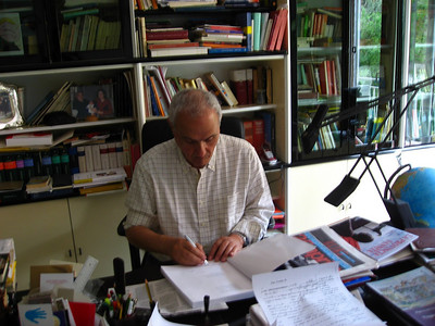 Biagio signing a copy of another book he wrote on the history of Benevento