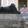 Sphinx & man standing guard at entrance to Jupiter's Temple - Split, Croatia