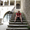 Dan decorating a staircase in part of Diocletian's Palace - Split, Croatia
