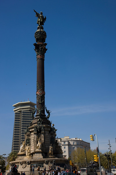 Christopher Columbus statue near the port in Barcelona