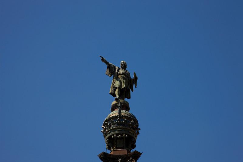 Christopher Columbus statue near the port in Barcelona