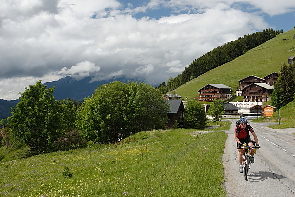 Climbing to the Col de Saisies