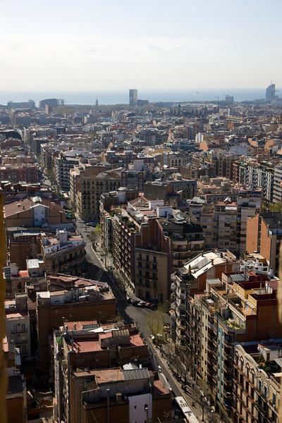 View from inside La Sagrada Familia Barcelona Spain