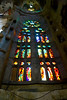 stained glass inside La Sagrada Familia Barcelona Spain