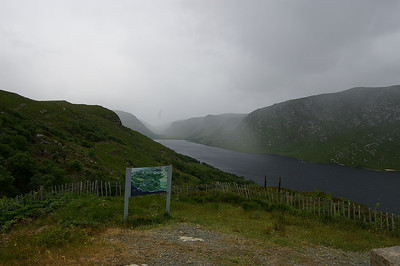 On top of the hill behind the Glenveagh Castle as the rain clouds coming in towards us.