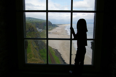 Looking out at the beach from inside Mussenden Temple (the white house in the distance is Downhill Hostel, what a great location)
