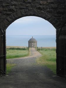 View of the Mussenden Temple from the main Downhill Estate Ruin