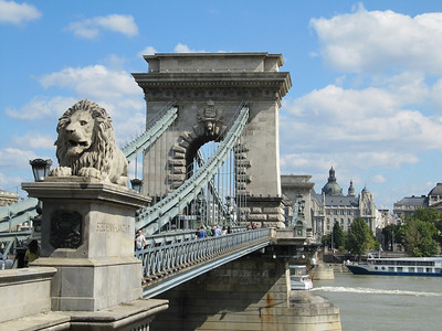 Lion guarding the Szechenyi Chain Bridge-built in 1839.
