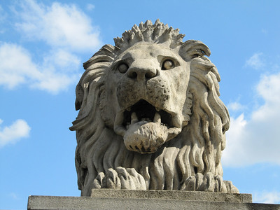 The lion on Szechenyi Chain Bridge.
