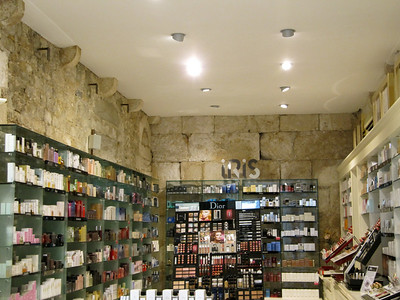 The inner walls are original.  Shop inside Diocletian's Palace - Split, Croatia