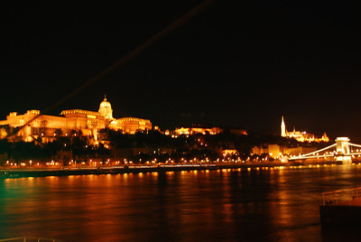 Night-time view of the Danube River, Budapest, Hungary
