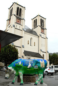 Sound of Music cow goes to church Salzburg, Austria