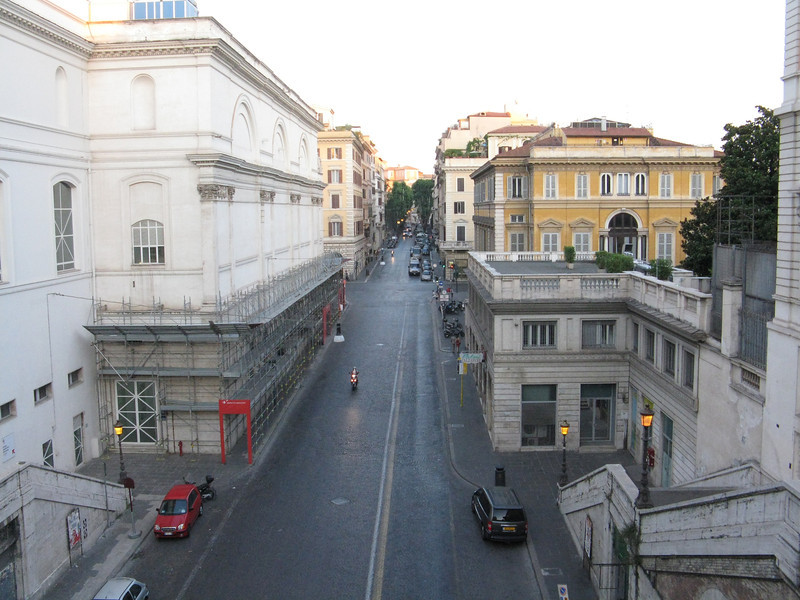 We ascended the pedestrian stairs on this street to get to the top of the Quirinal Hill.
