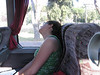 I caught some sleep on each of the flights to Rome. Alicia finally succumbs on the Bus ride to our hotel.