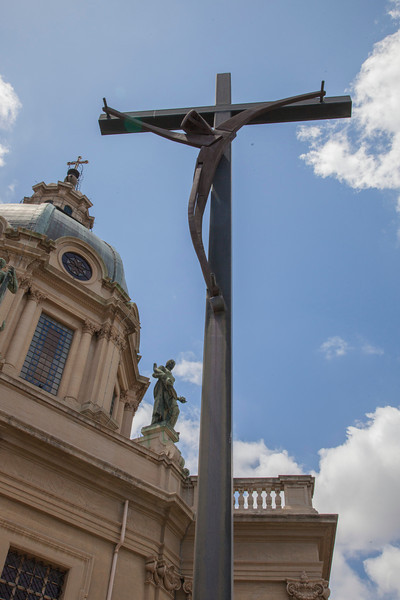 Modern style cross at the Tempio Votivo di Cristo Re (Votive Temple of Christ the King) in Messina, Sicily.