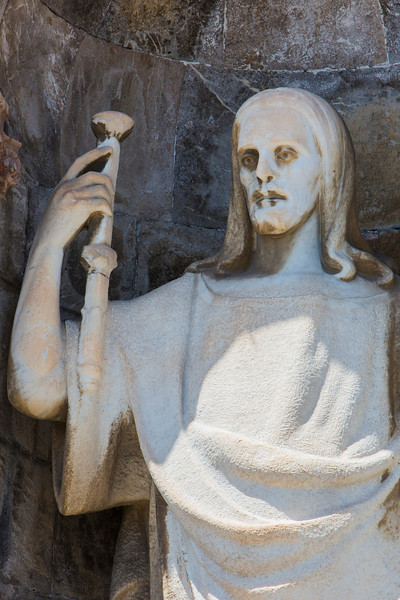 Statue outside the Votive Temple of Christ the King, Messina, Sicily.
