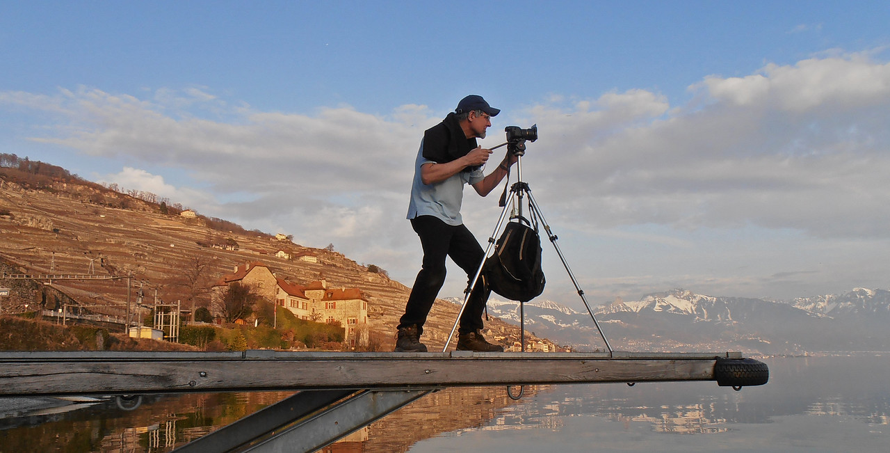 Photographing Lake Geneva near Montreux, Switzerland.