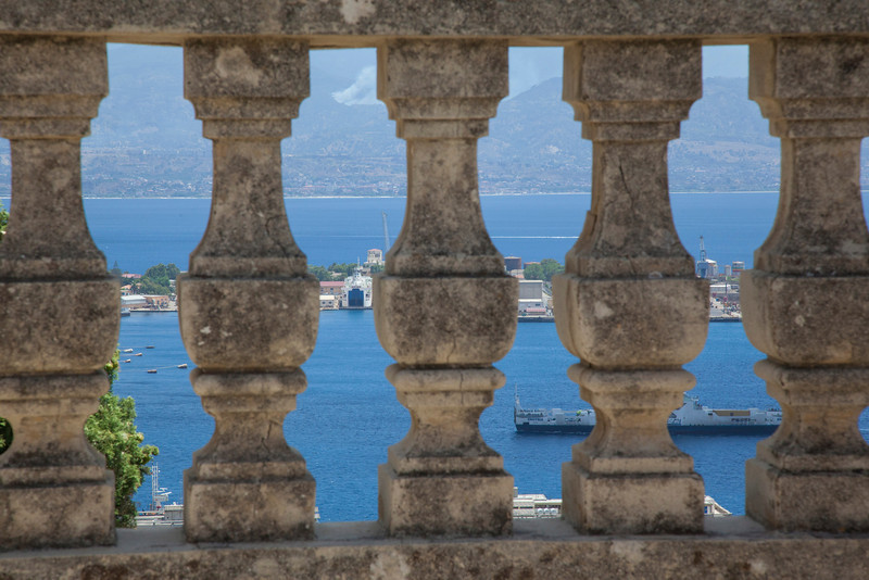 A view from the top of The Tempio Votivo di Cristo Re (Votive Temple of Christ the King) in Messina, Sicily.