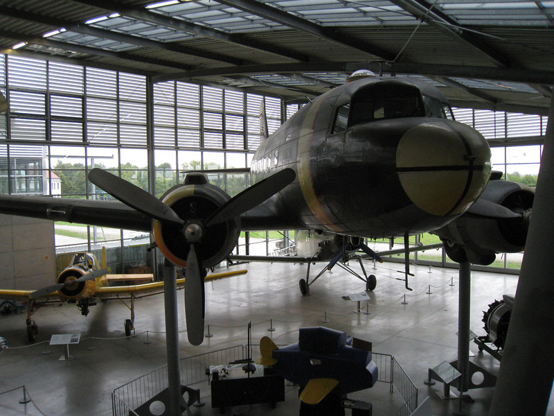 Munich - Deutsches Museum Schleissheim.  This is the Douglas C-47 Dakota, which was one of most commonly used transport aircraft during WW-II.  It was used not only for hauling cargo, but also for dropping Paratroopers.
