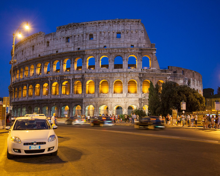 The coliseum at night.  Rome, Italy.