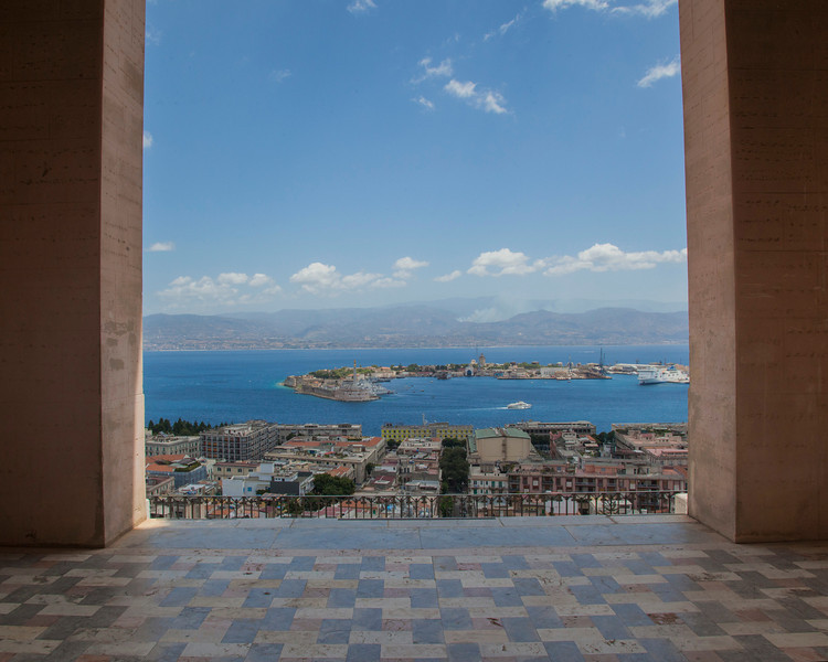This was the view as you walk out the main door of theTempio Votivo di Cristo Re (Votive Temple of Christ the King) in Messina, Sicily.