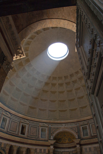 "The oculus of the Pantheon in Rome, Italy.  This is a must see if you are in Rome. Pantheon means ""to every god"" and was commissioned by Marcus Agrippa as a temple to all the gods of Ancient Rome.  It was rebuilt by Emperor Hadrian in about 126 AD."