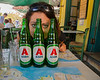 Jessica Crenshaw with Alpha beers at a great restaurant we ate at near the Acropolis in Athens, Greece.