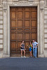 Giant doors in Rome, Italy with Cori Crenshaw, Jessica Crenshaw, and Ed Dumas.